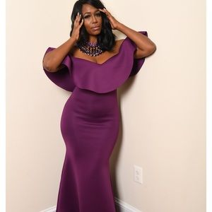 Purple Ruffled Maxi Dress